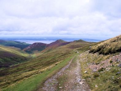 From the slopes of Drum looking NW towards Anglesey. Anafon valley on the left